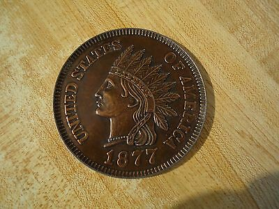 """Large 3"""" Cast Metal 1877 Indian Head One Cent Novelty Coin"""