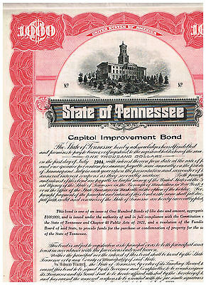 State of Tennesse, 1921, 1000$ bond, unissued
