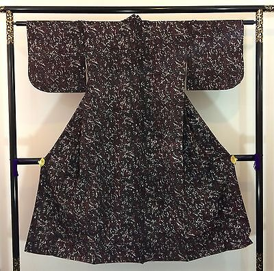 Authentic Japanese wine red wool kimono for women, S, Japan import (AB1645)