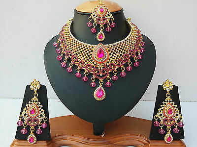 Indian Jewellery Set Cerise Clear Stones Gold Plated New - Aq/318