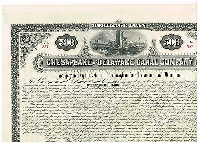 Chesapeake and Delaware Canal Co., 1887, 500$ Loan, uncancelled