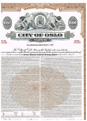 City of Oslo, 1977, 1000$, cancelled