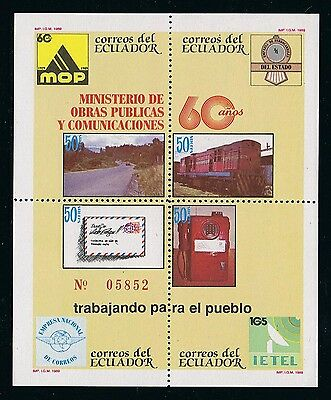 Ecuador Leaf Block 87 1989 Ministry of works public and communications Train