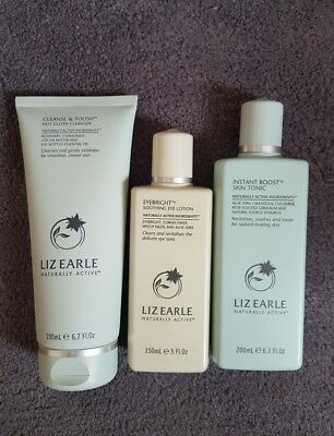 LIZ EARLE CLEANSE AND POLISH CLEANSER  TONIC 200ml each,150ml eyebright lotion