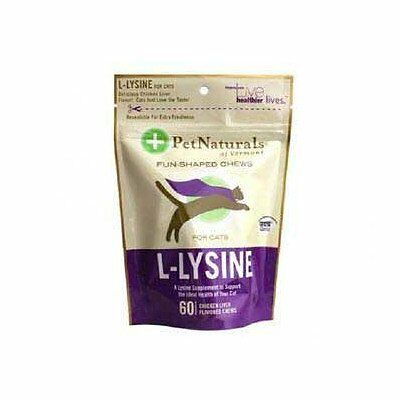 Pet Naturals of Vermont L-Lysine 60 Fun-Shaped Chews for Cats - 2 pack