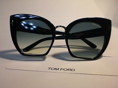 Tom Ford Samantha 02 Tf553-01W Black Cropped Cat-Eye Sunglasses, 55*21*