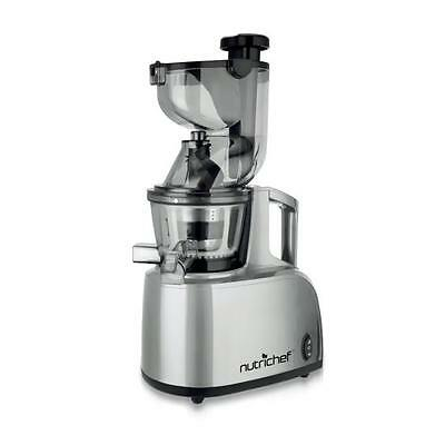 NutriChef PKSJ40 Countertop Masticating Slow Juicer Juice and Drink Maker, Steel