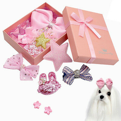 10/20/50pcs Mixed Pet Dog Hair Bows Clips Puppy Cat Grooming Accessories In Box