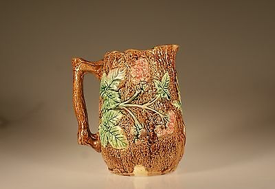 Majolica Aesthetic Movement Pitcher with Pink Flowers, Unknown Maker c. 1880s