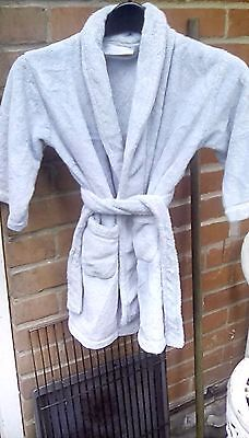 The Little White Company pale blue supersoft robe 3-4 years