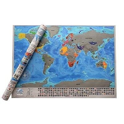 Large Scratch Off World Map Poster Travel Wall Personal Gift Vacation Deluxe