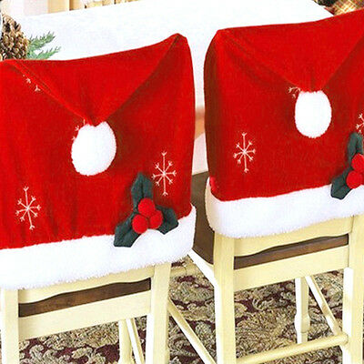 Luxury Santa Claus Red Hat Chair Back Cover Party Christmas Dinner Table Decor N