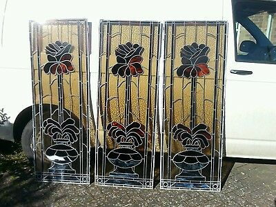 Three Large Antique Leaded Stained Glass Windows