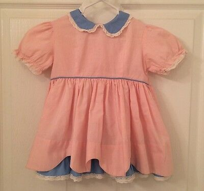 vintage 1950's baby girl dress, pink with blue petticoat