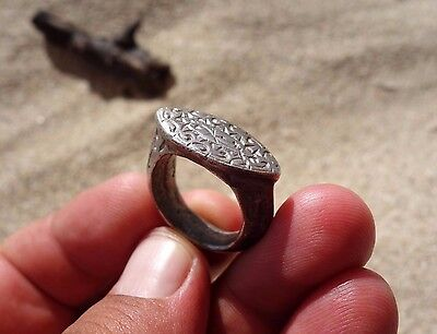 ancient late Byzantine - Middle Ages solid silver beautiful carved ring