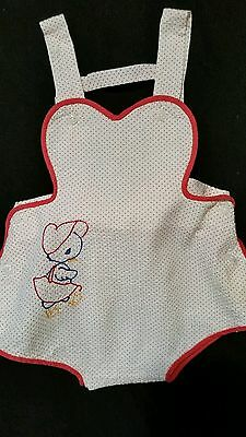 Vintage Red And White Polka Dot Sunsuit With Embroidered Duck