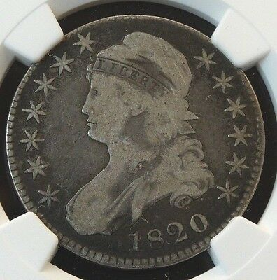 1820 Lg. Date Square 2 Capped Bust Silver Half Dollar O-108 Ngc Vg 8 Coin