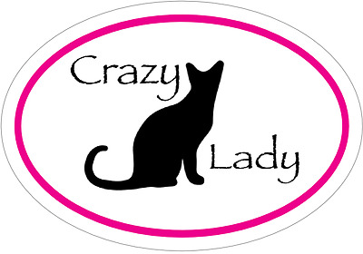 Cat Decal - CRAZY CAT LADY Cat Vinyl Sticker - Cat Bumper Sticker