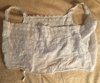 Antique Victorian Edwardian Doll Dress Handmade Cotton Embroidered Lace Camisole