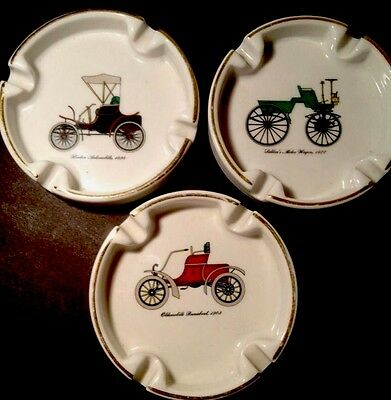 Vintage Ceramic Ashtray Set  ~ Classic Automobiles Antique Cars LOT OF 3