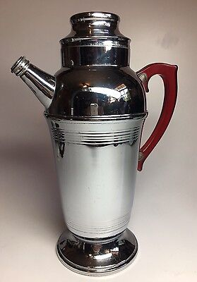 Vintage Art Deco Chrome Cocktail Shaker with Red Bakelite Lucite Handle