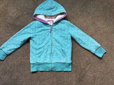 Mini Boden Printed Shaggy Lined Hoodie, Duck Egg Blue/White Stars, Age 7-8 Years