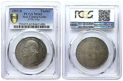 THALER 1869 B SAXE-COBURG-GOTHA 25th YEAR GERMAN STATES PCGS MS62