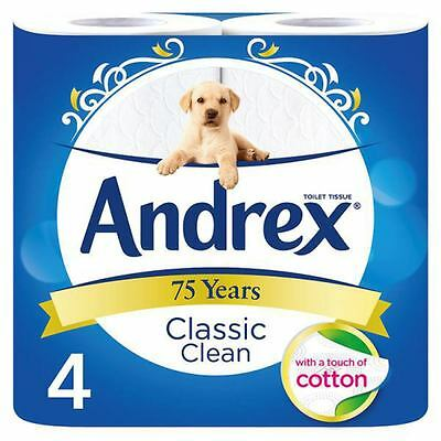 Andrex Classic Clean Toilet Roll Tissue 4 Rolls (6 x 4 Roll)