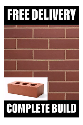 Perforated Class B Red Engineering Bricks 65mm (215mmx65mmx102mm) FREE DELIVERY