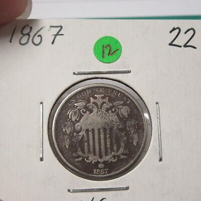 1867 Shield Nickel  ( Combine Shipping )