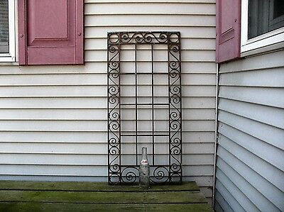 Old Large 33 x 16 Solid Brass Decorative Grill Grate Door Transom Wall Hanging