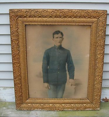 Antique Original Sketch Colorized Drawing of Civil War Union Soldier Gilt Frame