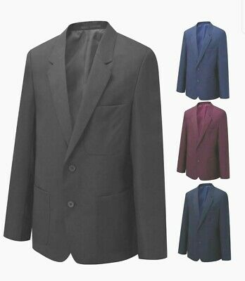 Boys Girls Juniors Kids Plain Black Navy Blue Maroon Green School Blazer Jacket