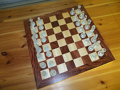 Folding wooden chess board box & set of glass pieces good quality nice condition