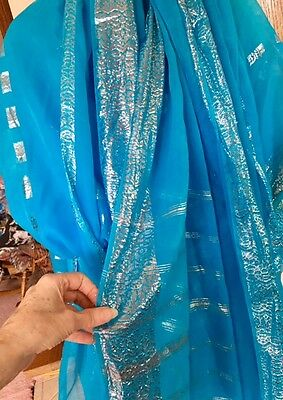 Vintage Antique 50s Turquoise Blue with Silver Sari (see 2nd Photo Authenticity)