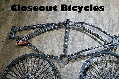 "BEACH CRUISER BICYCLE SQUARE TWISTED WHEEL TRIM CHROME FOR 26/"" BIKES"