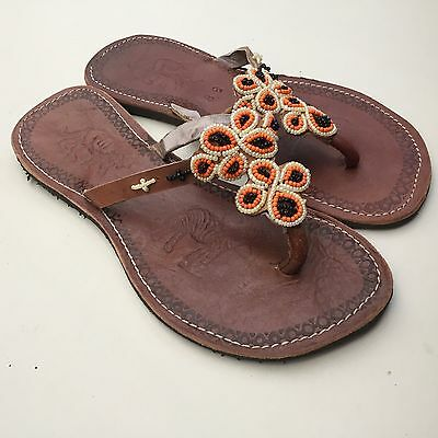 New African Kenyan Leather Tribal Masai Bead Flip-Flop Sandals Shoes 6 or 39