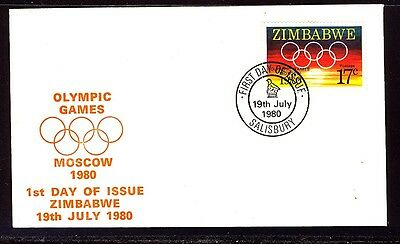 Zimbabwe 1980 Moscow Olympics First Day Cover - Unaddressed