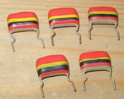 5x NOS MULLARD 0.22uf 250V C280 'TROPICAL FISH' POLYESTER CAPACITORS for VOX WAH
