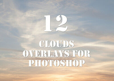 12 clouds overlays for photoshop  png file