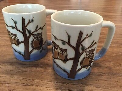 Owl Cups Mugs Set Of 2 Blue Ivory Brown Vintage FABULOUS! Otagiri?