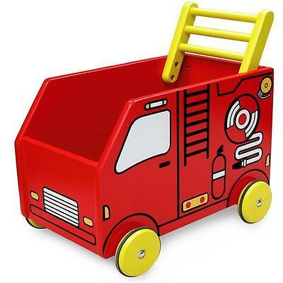 NEW I'm Toy Wooden Fire Engine Baby Walker Wagon