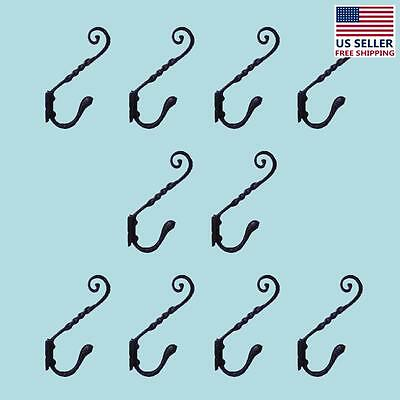 """10 Coat Hook Black Wrought Iron RSF 5 3/4"""" H X 4"""" Projection 