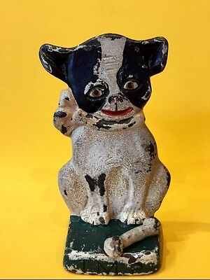 Old Cast Iron Hubley Doorstop IMP Boston Terrier French Bulldog Bone Moves Rare