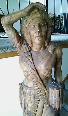 Solid Wooden Indian Statue Carving Figure Life Size Native American Tribe Chief