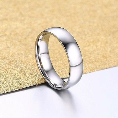Men's Silver Titanium Steel Comfort Fashion Fit Wedding Band Ring Gift Size7-11