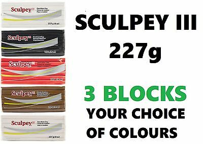 SCULPEY III - Polymer Clay - 3 X 227 gm BLOCKS - YOUR CHOICE OF COLOURS