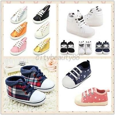 Newborn Kids Canvas Lacing Shoes Toddler Anti Slip Baby Boys Girl Sneakers 0-18M