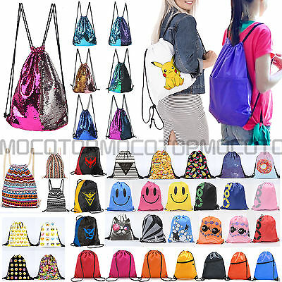 Unisex String Drawstring Backpack Cinch Sack School Tote Gym Swim Bag Sport Pack