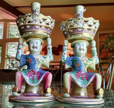 Antique Chinese Import Candlesticks Joss Holders Delightful Porcelain Figurines
